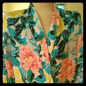 Vintage Rayon Floral Blazer.